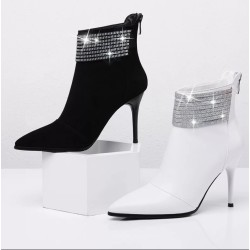 Jo Genuine Leather Diamante Ankle Boots